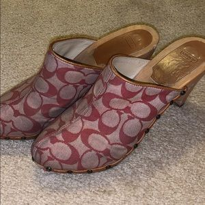 Used Coach Red Clogs